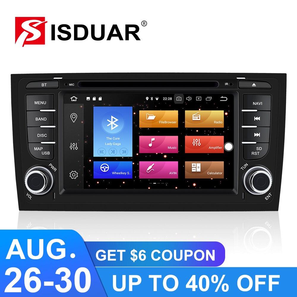 Isudar 9 2 Din Player Multimídia Carro Android Para Audi/A6/S6/RS6 Auto Sistema de Rádio Stereo GPS DVD RAM Octa Núcleo 4GB DVR USB DSP