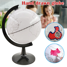 Paintable and Erasable Globe Model Plastic Erasing World Map Drawing Tellurian DIY Teaching Implement with 4 Brush JR De