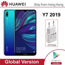 화웨이 y7 2019 글로벌 버전 스마트 폰 3GB 32GB 4000mAh 6.26 인치 페이스 ID 듀얼 AI 카메라 잠금 해제 Qualcomm Snapdragon 450