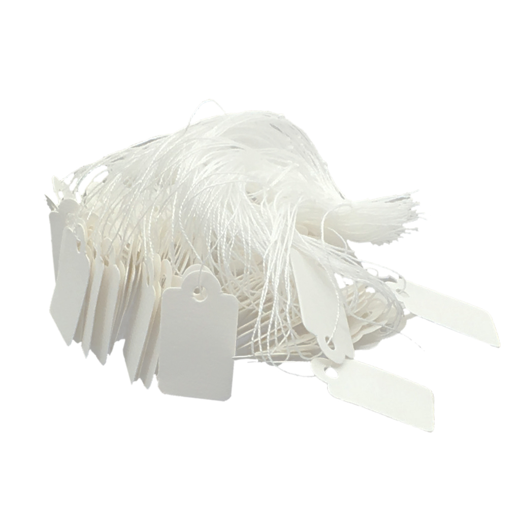 White Marking Tags Price Tags Writable Display Labels With Hanging String, 500 Pack, 24x14mm