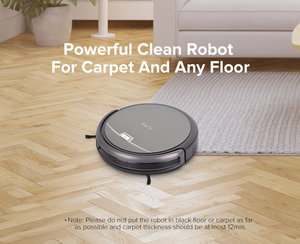 Hb293071a153849258c574f9f9f39b4cfj ILIFE A4s Robot Vacuum Cleaner Powerful Suction for Thin Carpet & Hard Floor Large Dustbin Miniroom Function Automatic Recharge