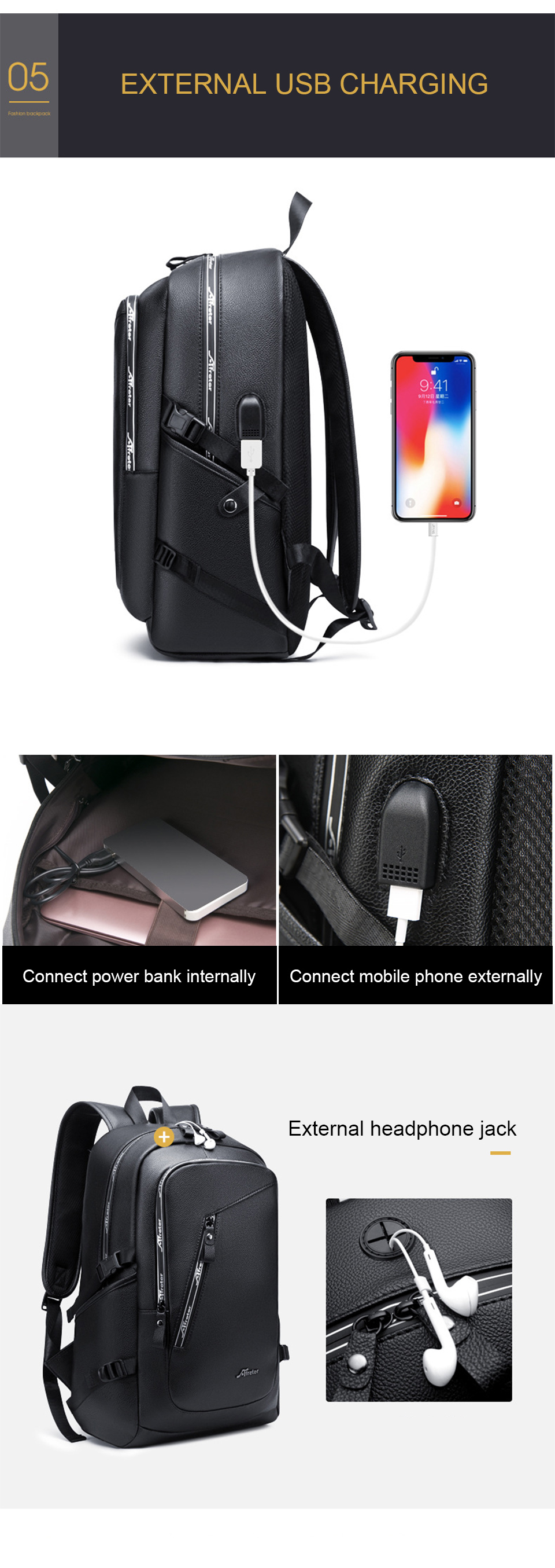 Fashion Smart Backpack Men Male Laptop 15.6 Student Backpacks School PU Leather Bagpack Waterproof Notebook USB Charging Bags (5)
