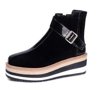 Image 2 - FEDONAS 2020 Thu Đông Dài Ấm Áp Giày Câu Lạc Bộ Đêm Giày Người Phụ Nữ Bò Bằng Sáng Chế Nữ Da Đầu Gối Giày Cổ Cao Dây Kéo Cao Cấp giày cao gót