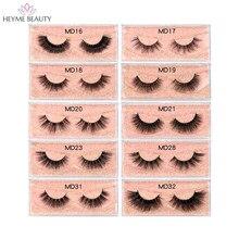 HEYME Makeup Eyelashes 3D Mink Lashes Dramatic Fluffy Soft Wispy Volume Natural Long Thick Cross False Eyelash Reusable Eyelash