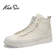 Buy KATESEN Men shoes leather fashion High Tops Male boots Luxury Brand mens casual sneakers waterproof lace up Flats solid shoes directly from merchant!