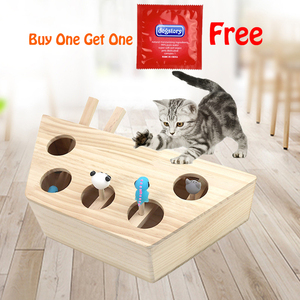 Image 1 - Aapet Wooden Pet Toy Wooden Whack Mole Mouse For Cat Interactive Punch Toy Whac A Mole Cat Kitty Funny Toy Mouse Chasing Gaming