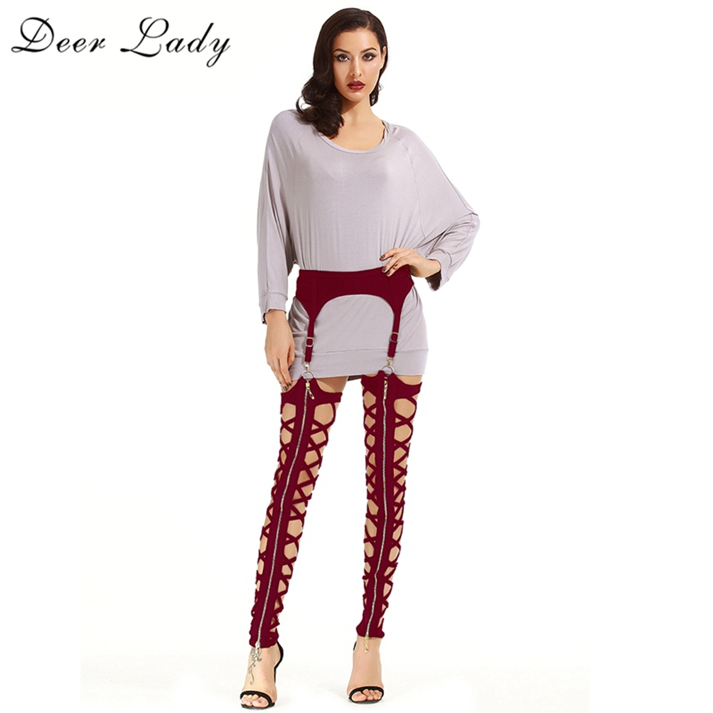 Deer Lady Winter Leggings Plus Size 2019 New Wine Red Bandage Leggings Cut Out High Waist Bandage Pants Women Bodycon Party