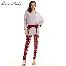 Deer Lady Winter Leggings Plus Size 2019 New Wine Red Bandage Leggings Cut Out High Waist Bandage Pants Women Bodycon Party(China)