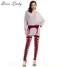 Lady DeerฤดูหนาวLeggings Plusขนาด2019ใหม่ไวน์สีแดงผ้าพันคอLeggingsตัดออกเอวสูงกางเกงผ้าพันคอผู้หญิงBodycon party