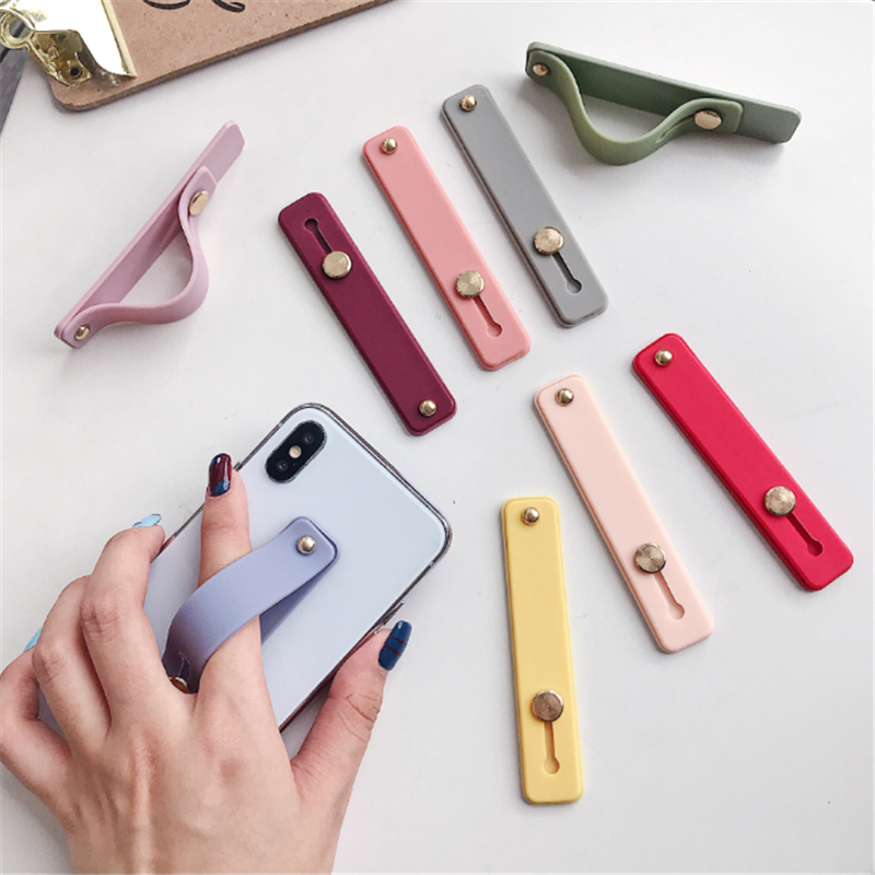 Colorful Wrist Band Hand Band Finger Grip Mobile Phone Holder Stand Push Pull Universal Phone Socket Holder For Iphone Xiaomi