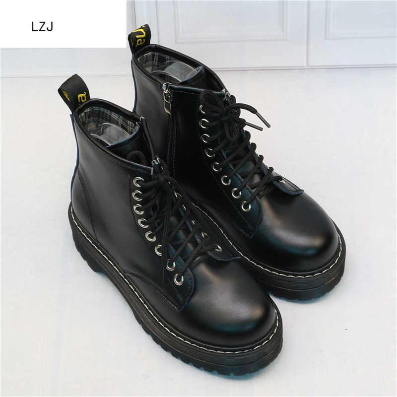 LZJ yeni 2019 kadın düz Platform yarım çizmeler bahar çizme siyah Lace Up siyah orta Creepers ayakkabı moda parti ayakkabı 35 -40