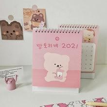 Calendario de escritorio de oso de dibujos animados, planificador coreano, calendario mensual, adorno de escritorio Kawaii para estudiantes, suministros de oficina y escuela, 2021