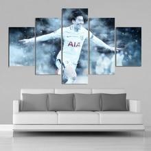 Soccer Stars Tottenham Heung-Min Son Posters 5 Pieces Canvas Art Canvas Paintings Football Sports Posters Kids Room Decor Frame tottenham huddersfield