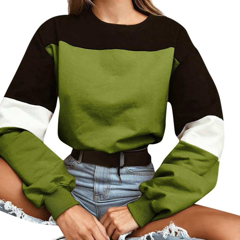 2019 New Autumn Womens Pullover Tops Long Sleeve Splcing Color  Blouse O Neck Sweetshirt Harajuku Sudaderas Mujer