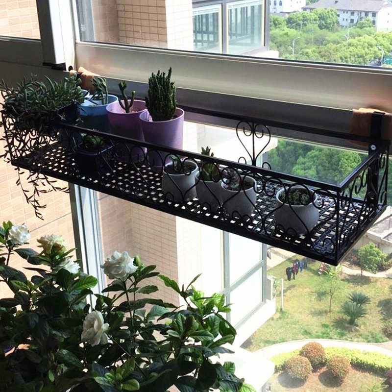 Window Suspension Fleshy Iron Art Flowerpot Frame A Living Room Windowsill Wall Hanging Type Green Luo Flower Rack