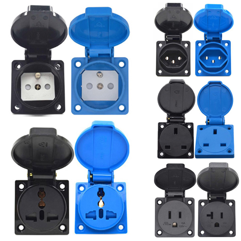 Universal Brazil Swiss AU US UK EU German France Industry AC Power socket Outdoor Waterproof Electric Schuko Outlet Connector(China)