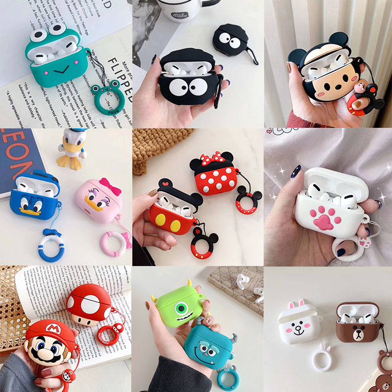 Cute Earphone Case For AirPods Pro Case Cartoon Mickey Minnie Cover For Apple AirPods Pro 3 Bags Protect Case With Carabine Hook