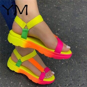 Большой размер 43 разноцветный повседневная женская обувь на плоской подошве; Прямая поставка; Удобные женские босоножки светильник Sandalias De ...