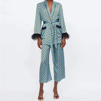 Women's suits 2021 New Arrival Blue Printed Kimono Jacket with Feather Sleeves Wide Leg pants two-piece Vintage Clothing Suits 1
