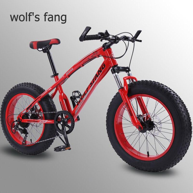 """Lobo fang bicicleta mountain bike 7 /21 velocidade 2.0 """"x 4.0"""" bicicleta de estrada bicicleta gordura freio a disco mulheres e crianças neve"""