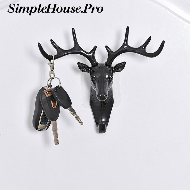 Clothes Hook Wall Hanging Hook Vintage Deer Head Antlers For Hanging Cloth Hat Scarf Key Deer Horns Hanger Rack Wall Decoration