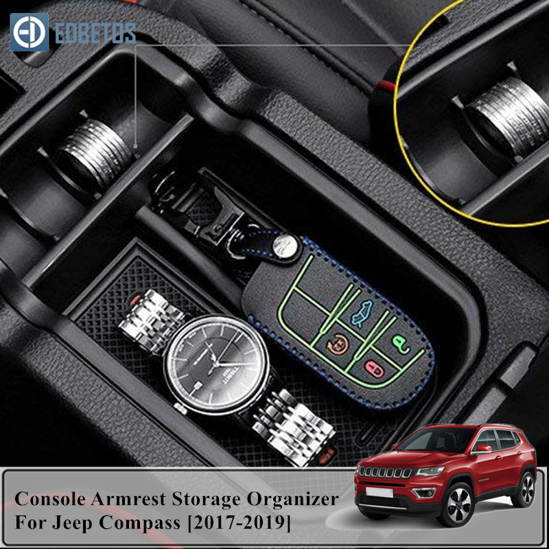 Car Styling Accessories 1PCS Plastic Interior Armrest Storage Box Organizer Case Container Tray For Jeep Compass 2017 2018 2019