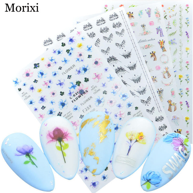 Фото morixi nail art sticker big size back glue type black necklace