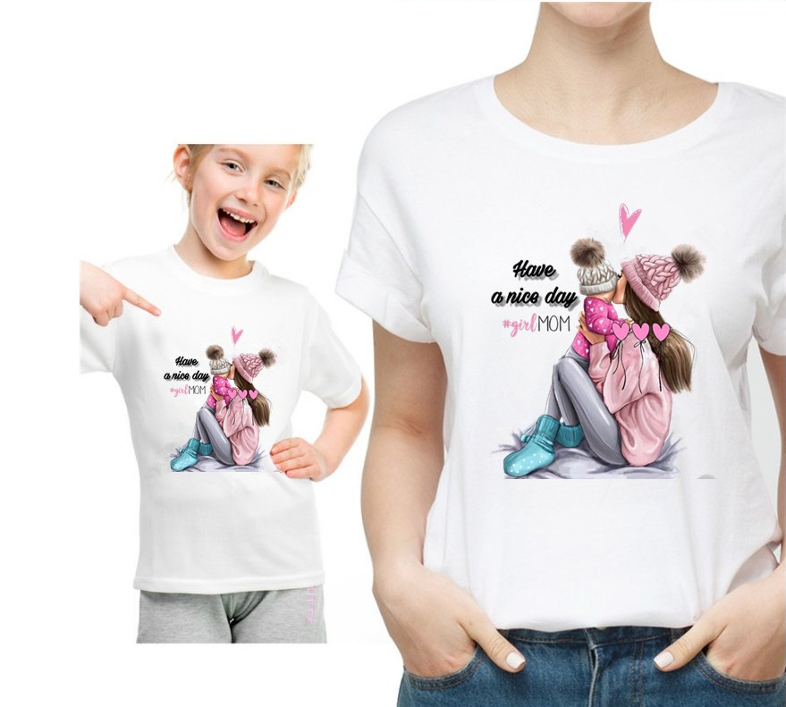 Cartoon Print T Shirt Matching Family Outfits Twinning Mother And Daughter KT-1941
