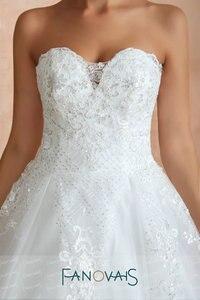 Image 4 - סטרפלס תחרה חתונה שמלות 2019 Vintage קו כלה שמלת Vestido דה novia gelinlik Robe דה Mariee