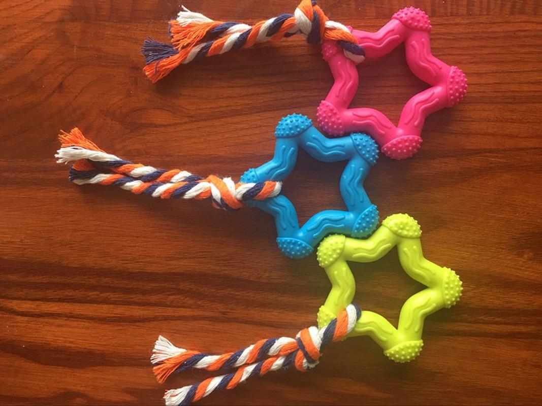 1 Uds. Juguete de cuerda de estrella para perros, juguete de masticar, juguete interactivo para mascotas, juguete de goma Natural, Durable, en forma de pentagrama, pequeño juego