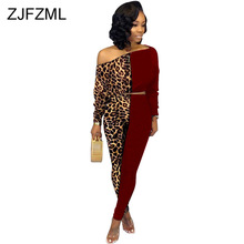Leopard Print Plus Size Two Piece Outfit Women Skew Neck Long Sleeve Short Top+Fitness  Pant Sweatsuit Color Block Spliced Suit ghost face plus size skew neck halloween sweatshirt