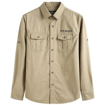 Large Size S-6XL 2020 Europe Military Casual Men's Spring 100% Cotton Khaki Long Sleeve Shirt Man Autumn Army green Blue Shirts - discount item  39% OFF Shirts