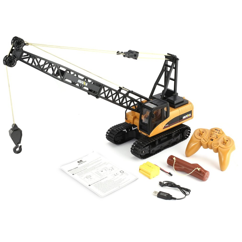 HUINA 1572 15ch RC Alloy Crane 1/14 2.4GHz Engineering Movable Latticed Boom Hook Mechanical <font><b>Truck</b></font> Toy Car With Sound <font><b>Light</b></font> ti image