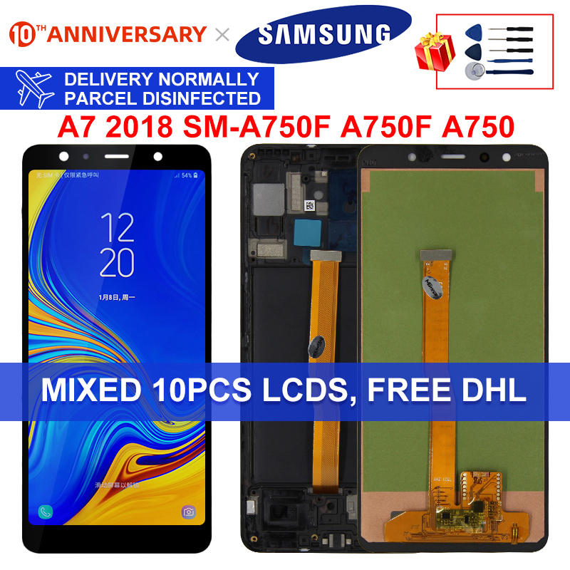 For Samsung Galaxy A7 2018 Display SM-A750F A750F A750 LCD With Frame Display Touch Screen Digitizer Replacement Parts A750 LCD