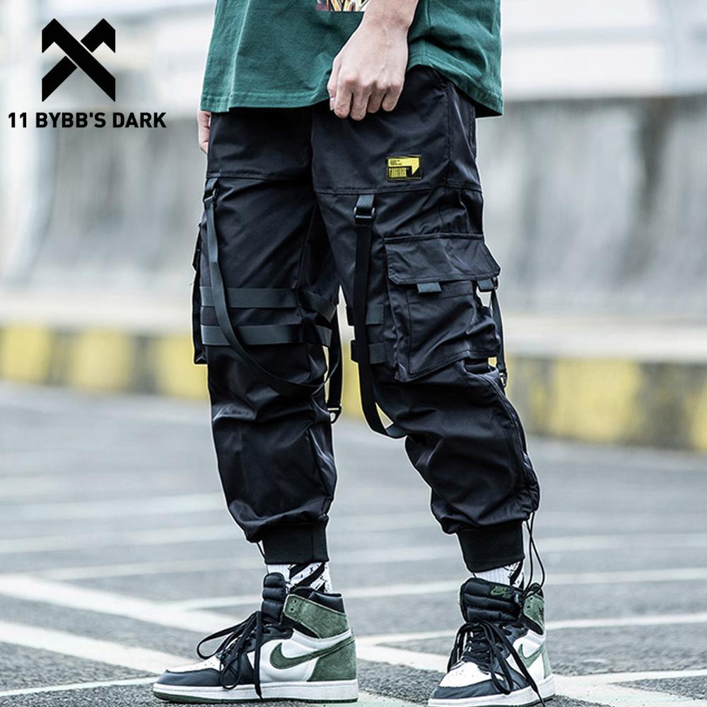 11 BYBB'S DARK Multi-pocket Hip Hop Harem Pants Men Elastic Waist Trousers Joggers Casual Loose Ribbons Cargo Pants Sweatpants