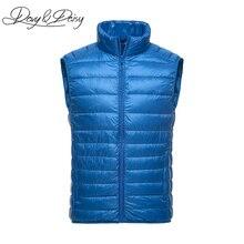 DAVYDAISY High Quality Waistcoat Men Early Winter Ultralight Stand Collar Duck Down Padded Warm Vest Men Sleeveless Coat DCT 178
