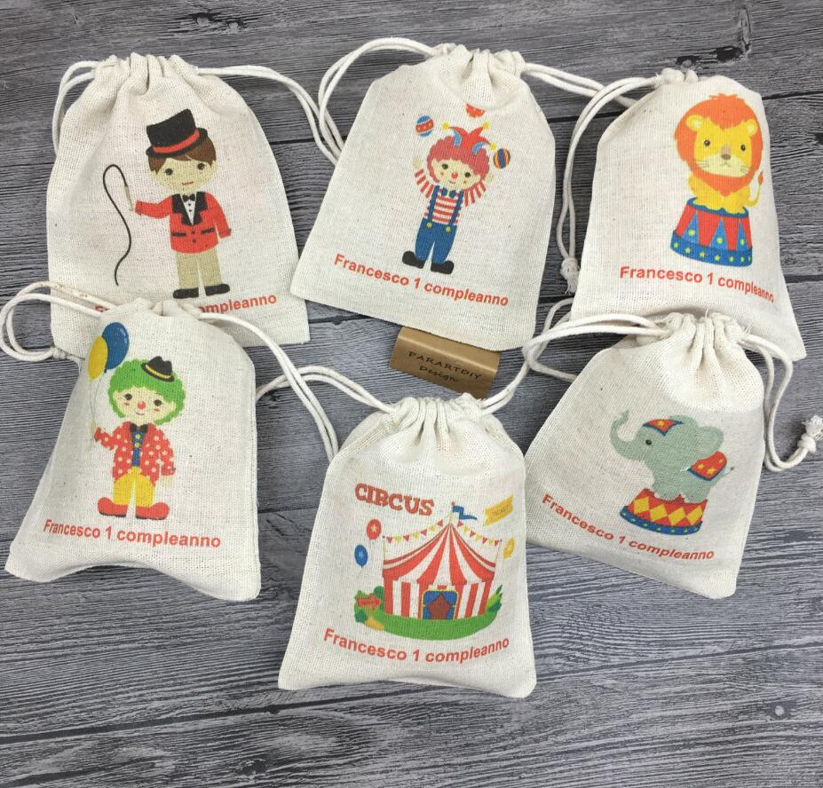 Customize 10pcs Circus Birthday Party Favor Bags Candy Bags Gift Bags Kids Birthday  Supplies Circus Friends Party Gifts Bags