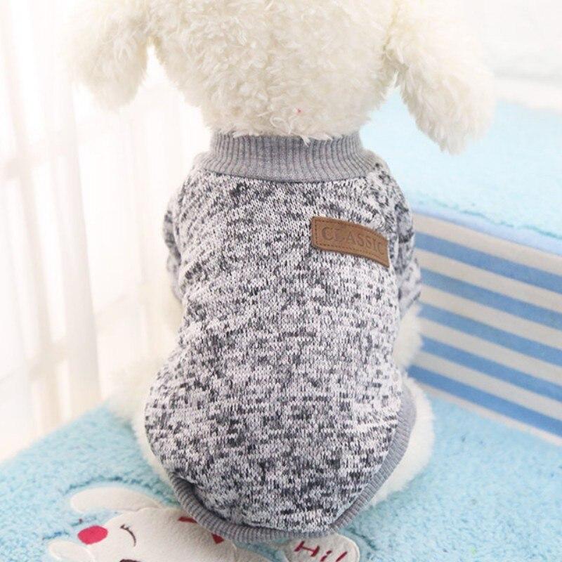 Одежда для собак, теплый свитер, мягкая куртка для чихуахуа, одежда для собак, одежда для щенков, куртка для собаки, зимняя одежда для маленьких собак - Цвет: Серый