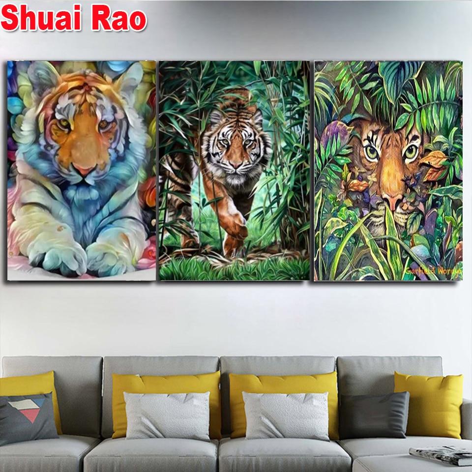 Животные джунглей Тигр Лев Алмазная картина 3d Стразы Вышивка