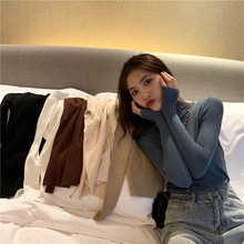 Make firm offers retro half a turtleneck sweater long-sleeved render sets core-spun yarn thin sweater