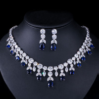 Luxury Dark Blue Women Wedding Party Dress Jewellery Big Dangle Drop Bridal CZ Necklace Earrings Jewelry Sets