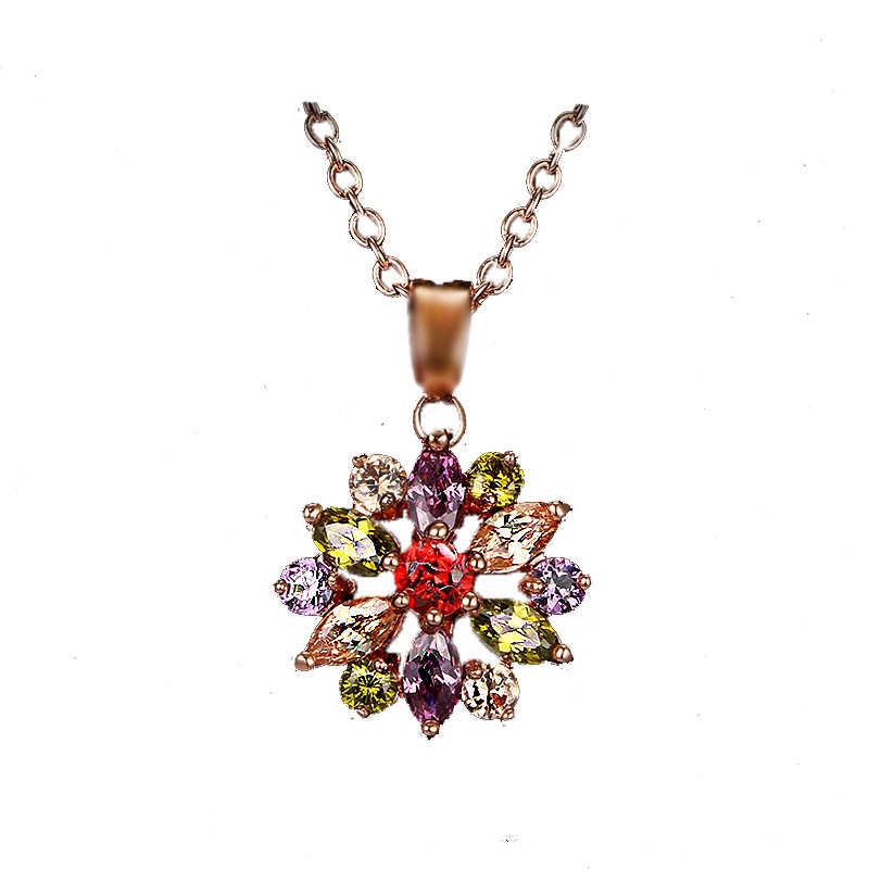 Bettyue الموضة الساحرة متعدد الألوان تزهر زهرة شكل عقد من حجر الياقوت قلادة القلائد سلسلة مجوهرات للنساء الزفاف هدية