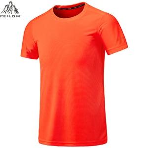Peilow Большие размеры L ~ 5XL, 6XL, 7XL, 8XL мужчин Soild Цвет быстросохнущая Camisa masculina o-образным вырезом футболка с короткими рукавами человек повседневные Топы И Футболки