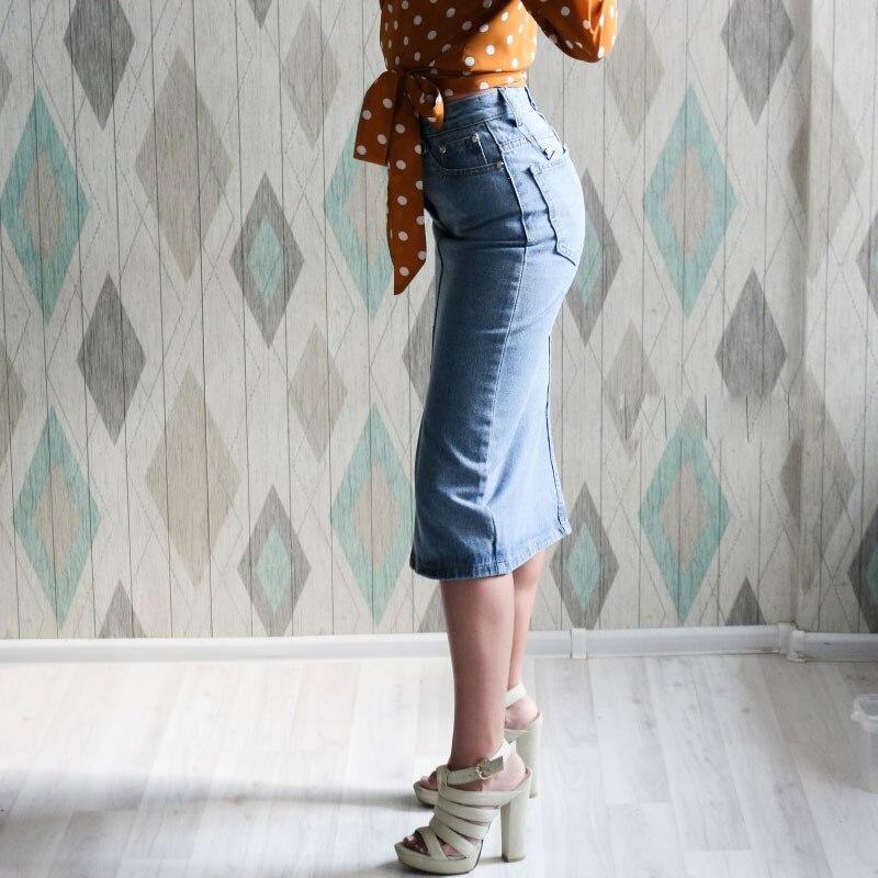 Women Sexy Denim Skirts 2020 Korea Fashion Pocket Lady Mid Calf Skirt High Waist Vintage Skirts Female