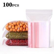Sacs en plastique à fermeture éclair, 100 pièces/lot, sachets transparents à fermeture éclair, emballage de stockage des aliments à fermeture automatique pour fruits et noix