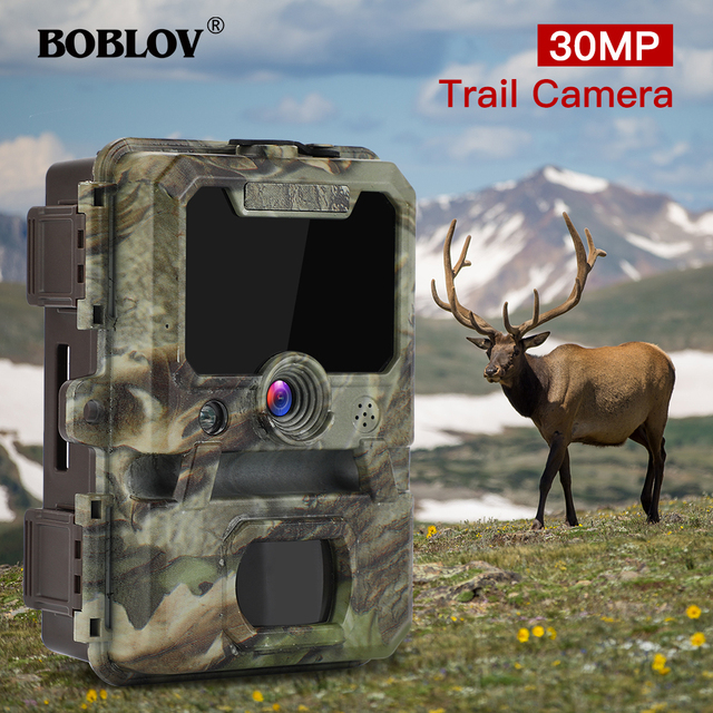 BOBLOV 30MP ghost hunting camera Photo Traps Night Vision Infrared Trail Hunter Camera WildKamera Deer Hunting Camera 1080P 1