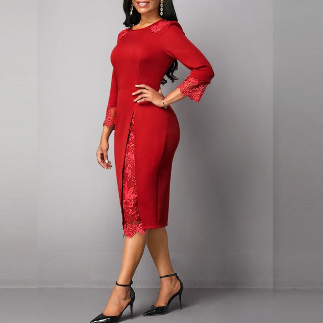 Vestido elegante de mujer  talla grande con encaje. Vestido de fiesta talla grande