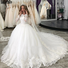 Princess Ball Gown Wedding Dresses Off the Shoulder Long Sleeves Lace Appliques Court Train Vintage Bridal Gown Vestido De Novia lovely tulle ball gown wedding dress 2019 new sweetheart lace appliques off shoulder court train princess church bridal dresses