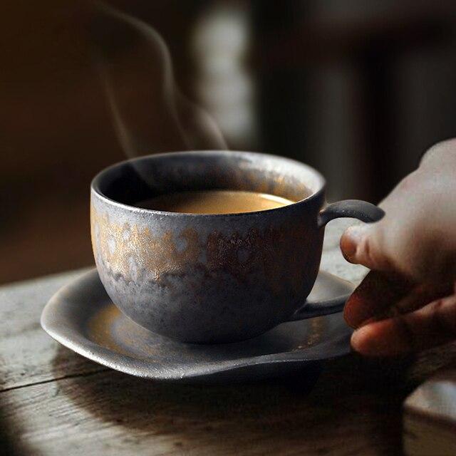 Japanese Porcelain Tea Cups Retro Coffee Cup Vintage Household Water Cup Mug Black Tazas De Ceramica Creativas Latte Cup Teacup