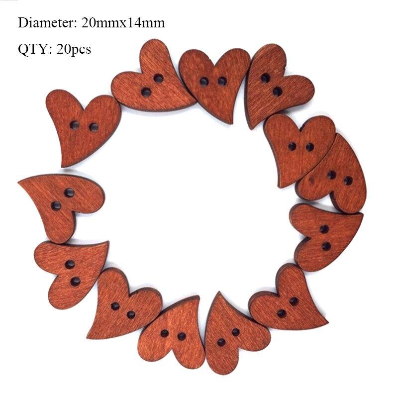 20 шт деревянные пуговицы для рукоделия, аксессуары для скрапбукинга, декорации, botones de madera para manualidades - Цвет: K05